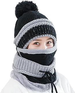 Ababalaya Women's Warm Fleece Pom Hat & Removable Windproof Mask & Neck Scarf Sets