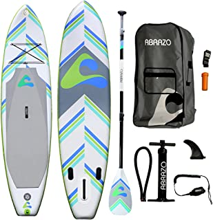 abrazo Sports: 11ft Long & 32 inches Wide Standup Paddleboard Inflatable SUP with Pump, fins, Paddle, Bag, Ankle Leash and...
