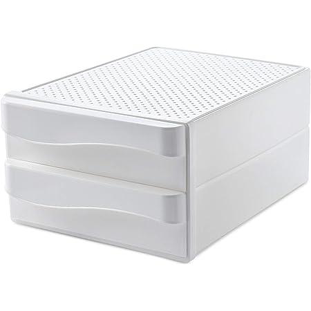 XGzhsa Organisateur de bureau, tiroirs de bureau, tiroirs cosmétiques de bureau en plastique durable à double couche pour papier A4, rangement pour la maison de bureau (blanc)