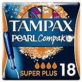 Tampax Compak Pearl Super Plus con Aplicador, el Mejor Tampón Tampax en Comodidad, Protección y Discreción, 18 Unidades (Pack de 4)