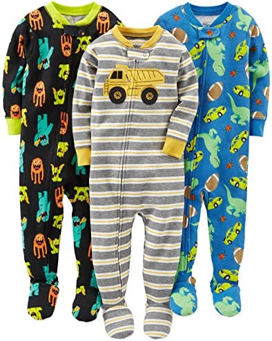 Simple Joys by Carter s Baby Boys 3 Pack Snug Fit Footed Cotton Pajamas Monsters Dino Construction product image