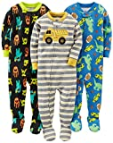 Simple Joys by Carter's Baby Boys' 3-Pack Snug Fit Footed Cotton Pajamas, Monsters/Dino/Construction, 12 Months