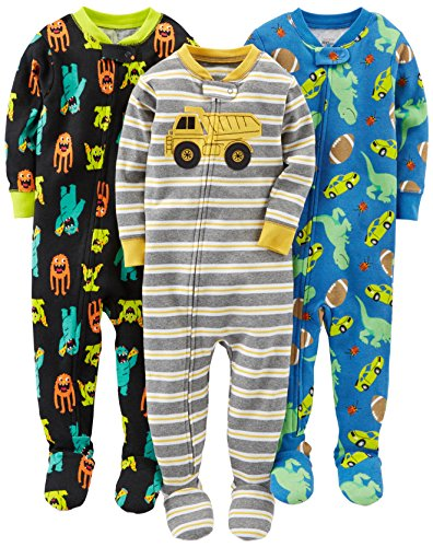 Simple Joys by Carter's Baby Boys' 3-Pack Snug Fit Footed Cotton Pajamas, Monsters/Dino/Construction, 18 Months
