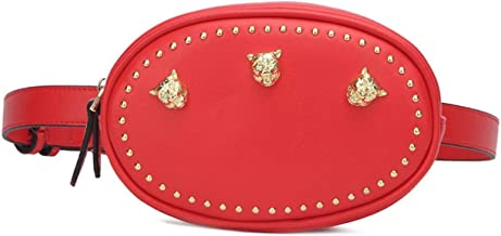 Ladies Waist Bags Fashion Round Woman Belt Bags Handy Fanny Pack Female 2019 Tiger Head Studded Leather Belt Pack Hip Bag