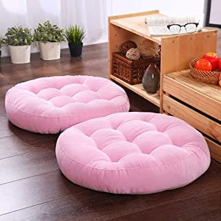 Solid Papasan Patio Seat Cushion Outdoor Chair Pad Home Tatami Floor Cushion Indoor Window Pad 22 Inch Set of 2 Throw Pillows Round Pink