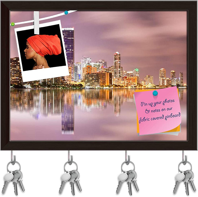 Artzfolio Cityscape of Miami Florida, USA Key Holder Hooks   Notice Pin Board   Dark Brown Frame 16 X 12Inch