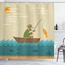 Ambesonne Fishing Decor Shower Curtain by, Digital Coastal Lake Scene with Fisherman in Vessel in Fractal Effects Retro Image, Fabric Bathroom Decor Set with Hooks, 75 Inches Long, Multi