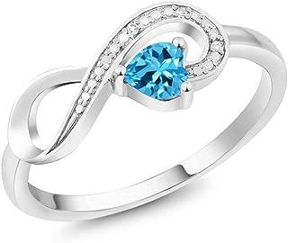 Gem Stone King 10K White Gold 0.33 Ct Heart Shape Swiss Blue Topaz Infinity Diamond Accent Ring