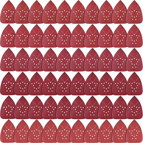 SIQUK 60 Piezas Hojas de Lija Mouse Papel de Lija 60/80/ 120/180/ 240/320 Granos para Metal Madera