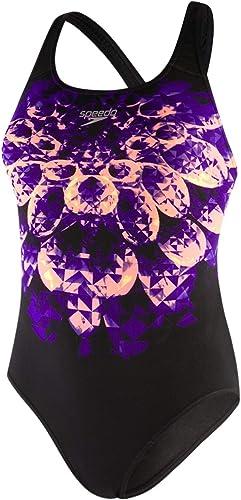 Speedo Refracthaze PlaceHommest Pbck Maillot de Bain Femme, Refrct Hze noir Royal violet Brirgt Zest Papya Punch, 42 (FR 48)
