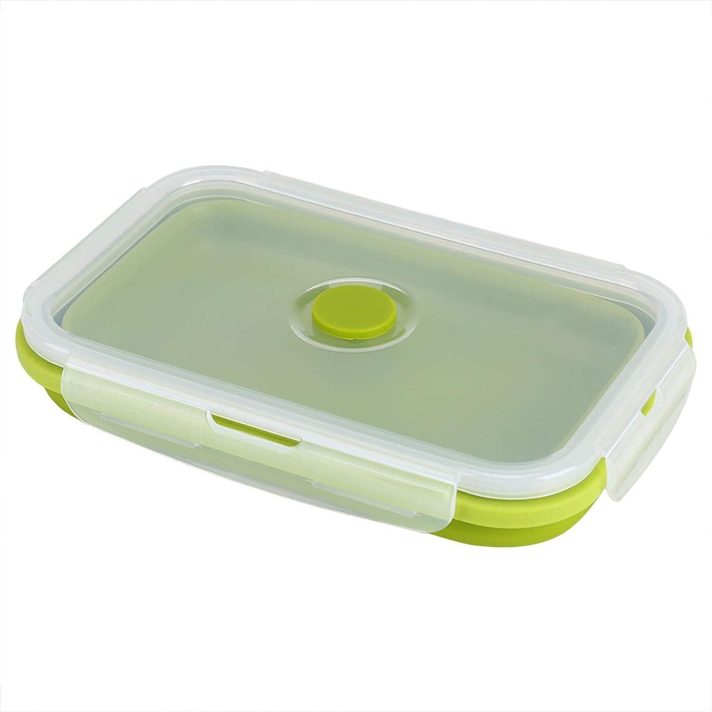 Tazón para fiambrera, fiambrera Bento, tarro de comida ecológico, 800 ml, plegable, portátil, de silicona de grado alimenticio con tapa con cierre de clip para comidas para llevar(Pasto verde)