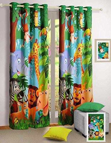 Shalinindia Chambre d'enfant Décorations, imprimé numériquement Assez Rose Faries 2 Panneaux Rideau