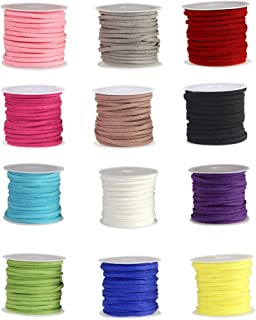 Bingcute 12 Rolls Different Colors 3mm Faux Leather Suede Beading Cords