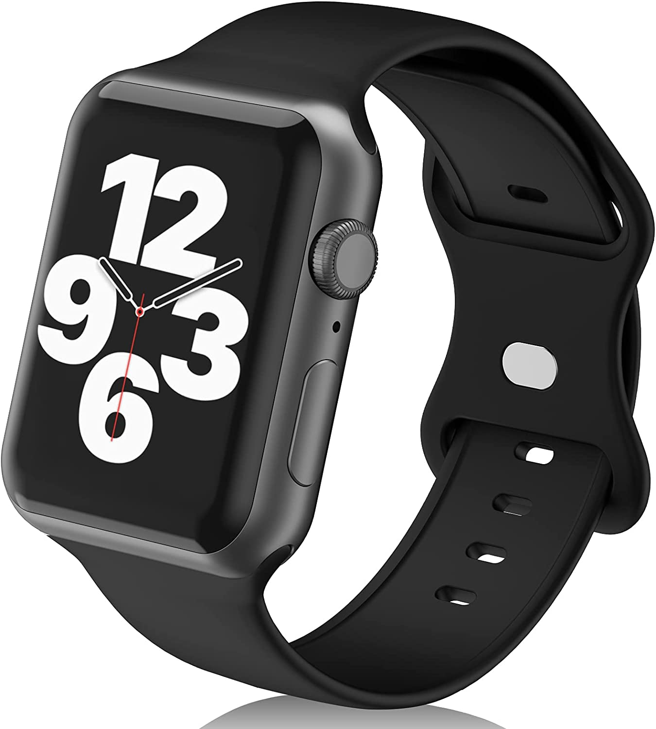 N-Hocezyg Smartwatch Bands Compatible with Apple Watch Band 42mm 44mm for Women Men Girls,Soft Silicone Sport Replacement Strap for iWatch Series 6 5 4 3 2 1 SE Wristbands