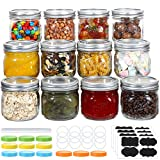 Wide Mouth Mason Jars 12 oz, 12 PACK Glass Canning Jars with Metal Airtight Lids, Leak-Proof Colored Lids, Chalkboard Labels and Marker, for Meal Prep, Food Storage, Canning, Preserving, DIY Projects