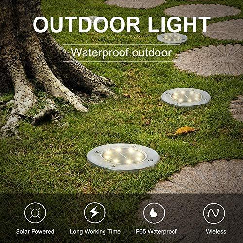Solar Ground Lights,8 Led Solar Garden Lights Outdoor,Landscape Path Lights,Disk Lights Waterproof In-Ground Outdoor for Lawn Yard Walkway Flood Light