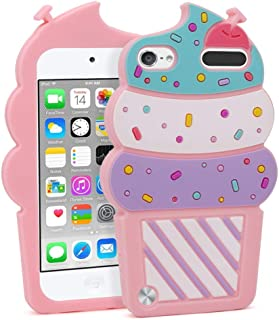 iPod Touch 6 Case, iPod Touch 5 Case, 3D Cute Cartoon Cherry Cupcakes Ice Cream Food Shaped Kids Girls Soft Rubber Silicone Shockproof Protector Skin Cover for iPod Touch 6th 5th Generation (Pink)