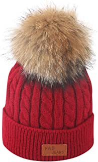 Longay Toddler Kid Girl&Boy Baby Infant Winter Crochet Knit Hat Beanie Hairball Cap (Wine)