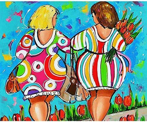 Pintar por Numeros Adultos DIY Kit Facil para Ni/ños Lienzo Arbol Amarillo Deja Frente a la Puerta 40x50 cm