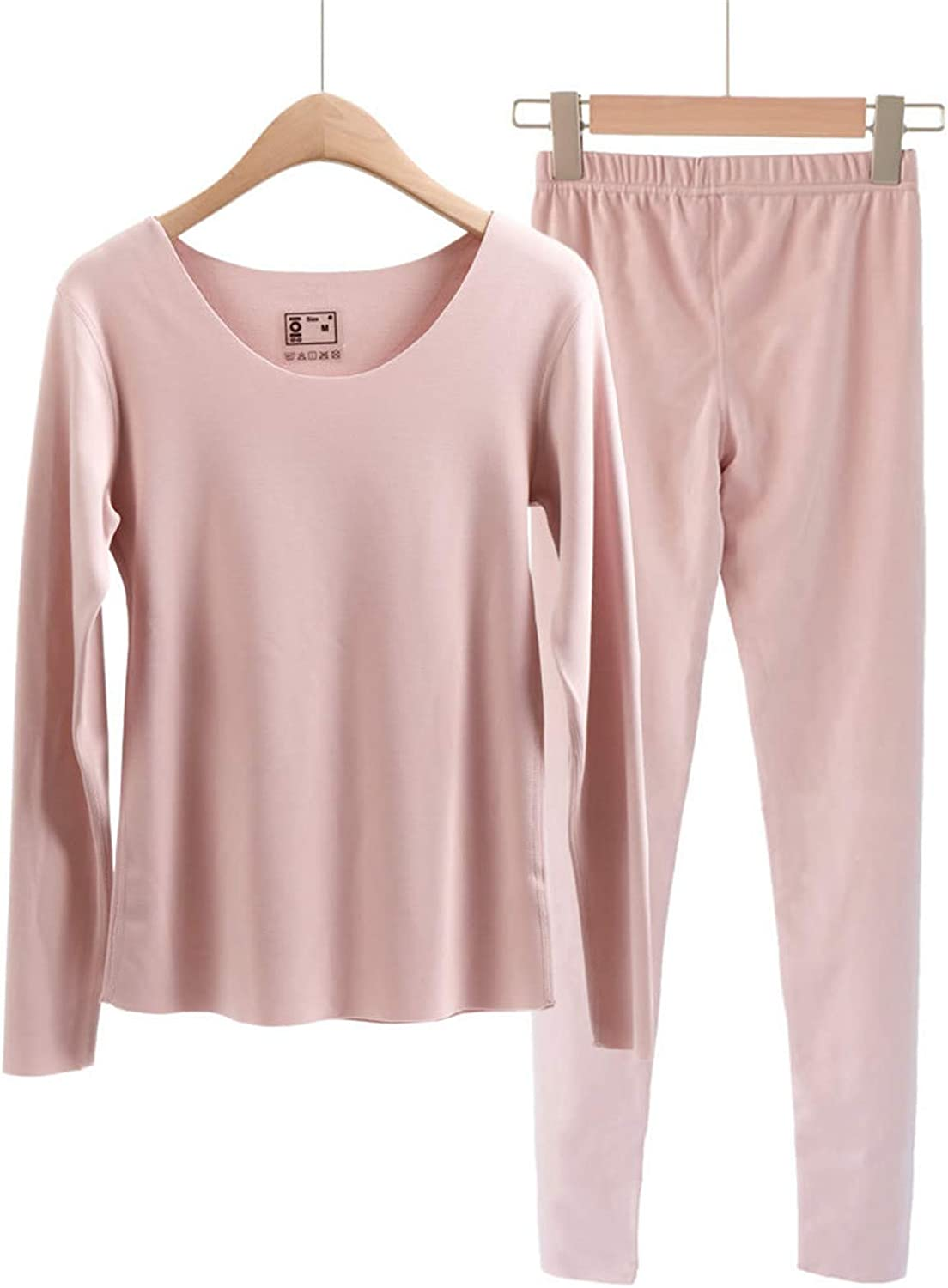 GQFGYYL Fashion Seamless Thermal Underwear Set, Ultra Soft Top & Bottom Base Layer Long Winer Warm with Fleece Lined,Pink,L