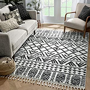 "Well Woven Tessa Ivory Moroccan Shag Diamond Trellis Pattern Area Rug 8×10 (7'10"" x 9'10"")"