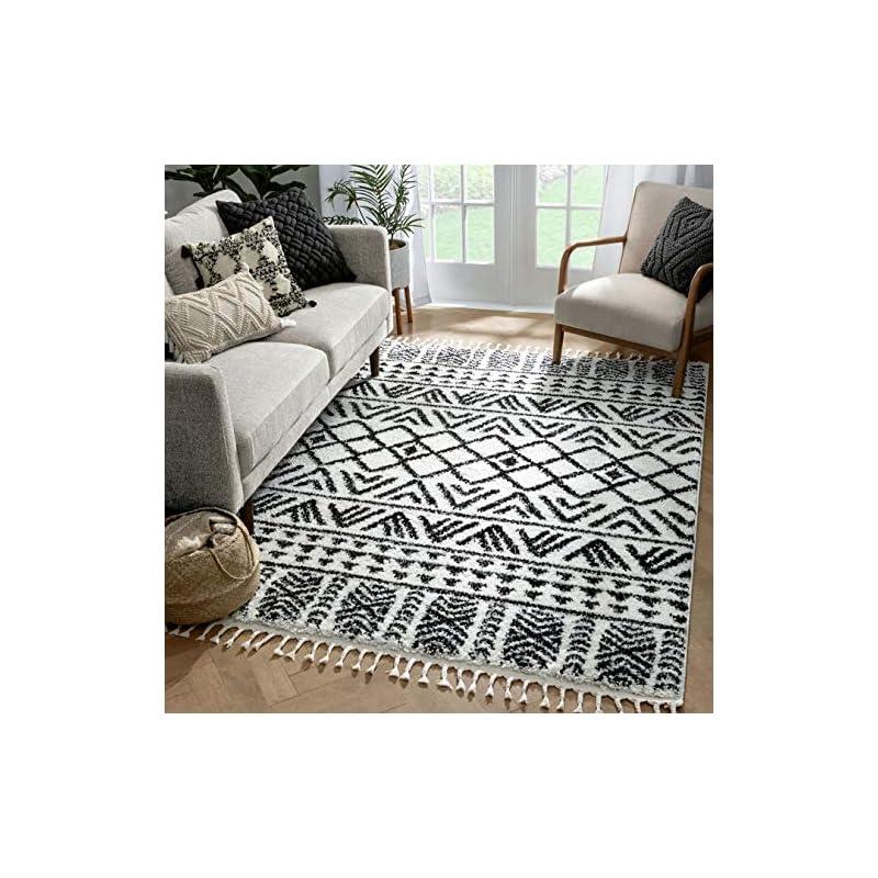 "silk flower arrangements well woven tessa ivory moroccan shag diamond trellis pattern area rug 8x10 (7'10"" x 9'10"")"