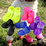 Pesp Puppy Dogs Candy Colors Anti-Slip Waterproof Rubber Rain Shoes Boots Paws Cover (Rose Red, Medium)