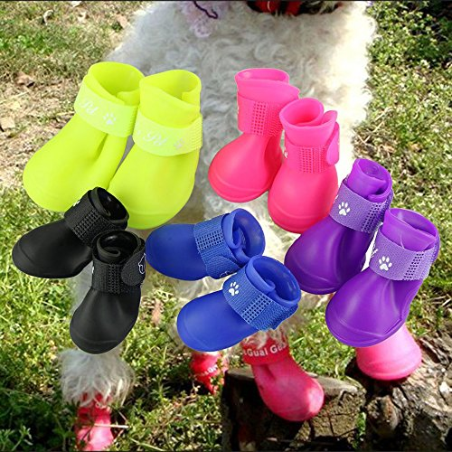 Cdycam Puppy Dogs Candy Colors Anti-Slip Waterproof Rubber Rain Shoes Boots Paws Cover (Rose Red, Large)