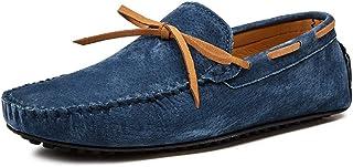 XFQ Chaussures Bateau pour Homme, Mode Chaussures Casual Frosted Cuir Sole Chaussures Mode De Conduite Légère D'été,Bleu,49EU