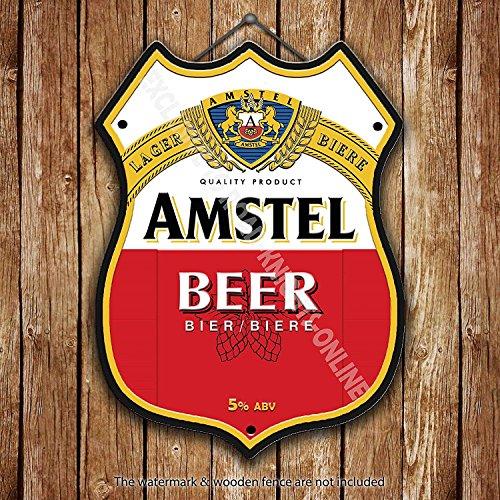 Amstel Lager Birra Classico pubblicità Bar Vecchio Pub Bevande Pompa Distintivo Brewery Botte Keg Draught Real Ale Pinta Alcool Luppolo Forma Metallo/Targa da Parete in Acciaio - 27 x 20 cm