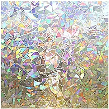 rabbitgoo Window Privacy Film Rainbow Window Clings 3D Decorative Window Vinyl Stained Glass Window Decals Static Cling Window Sticker Non-Adhesive 17.5 x 78.7 inches