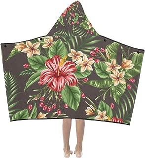 Kids Blanket Girls Tropical Floral Seamless Pattern Plumeria Hibiscus Kids Hooded Blanket Bath Towels Throw Wrap for Toddler Child Girl Boy Home Travel Sleep Kid Weighted Blanket