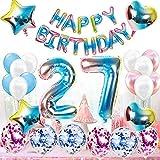 Juego de decoración de 27 cumpleaños para mujer, hombre, arco iris, decoración de cumpleaños para 27 años, decoración de 27 globos con guirnalda de Happy Birthday para género Reveal, hombre y mujer