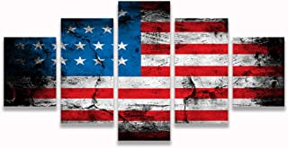 VIIVEI Retro American Flag Canvas Print Art Home Decor Wall Art Pictures for Living Room 5 Panel Large Poster HD Printed Painting Framed Ready to Hang (60