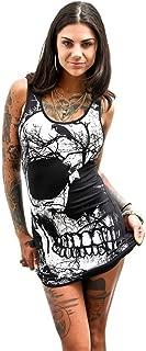 Women's Sexy Dresses Sleeveless O-Neck Skull Printed Summer Vintage Vest Dress Loose Casual Tank Dress