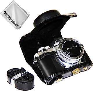 First2savvv Negro Calidad Premium Funda Cámara Cuero de la PU Cámara Digital Bolsa Caso Cubierta con Correa para Olympus OM-D E-M10 Mark III con 14-42 EZ Zoom Lens XJD-EM10 III-01G11