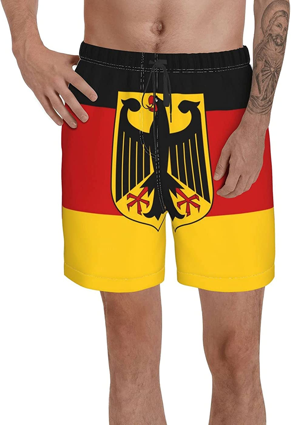 Count German State Ensign Flag Men's 3D Printed Funny Summer Quick Dry Swim Short Board Shorts with