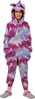 Kids Girls A2Z Onesie One Piece Unicorn Print Soft Purple Galaxy Xmas Costume