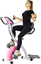 Murtisol Folding Exercise Bike Compact Foldable Stationary Bike Magnetic Resistance Control W/ Twister Plate, Arm Resistance Bands, Extra Large&Adjustable Seat and Heart Monitor Perfect Home Exercise, Three Colors