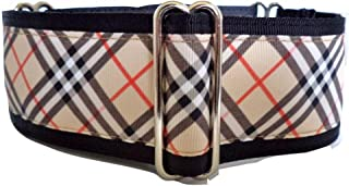 Regal Hound Designs 2 inch Wide Martingale Dog Collar, Lined, 2 Sizes, Beige Plaid
