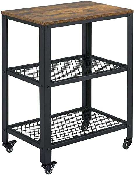 Yaheetech Serving Cart With Storage Shelf 3 Tier Kitchen Rolling Cart Industrial Accent Furniture For Living Room