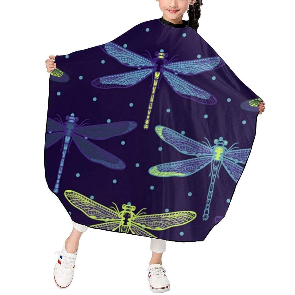変換東方君主MCKLIOL Dragonflies 子供用ヘアカットエプロン 散髪ケープ ヘアカットケープ 120*100cm 防水 首掛け 男女共用 子供用 美容エプロン サイズ調整でき 美容室 家庭用