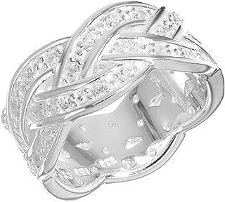 Tuscany Silver 标准纯银白色立方氧化锆编织戒指