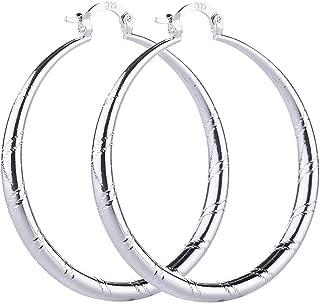 Women Fashion 925 Sterling Solid Silver Ear Stud Hoop Earrings Wedding Jewelry (1.58 inch)