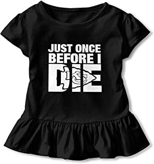 Kid T Shirt Just Once Before I Die 3D Tee Baseball Ruffle Short Sleeve Cotton Shirts Top for Girls Kids