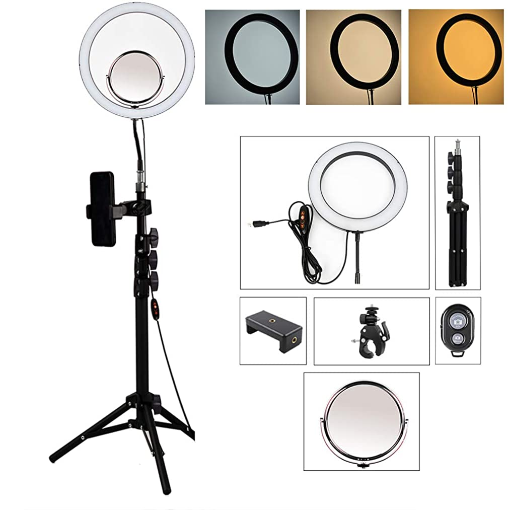 Flashes LED Ring Light,Bluetooth Remote Control 13inch Adjustable Color Temperature 3000k-6000k with Adjustable Stand, YouTube Makeup,Self-Timer Beauty Fill Light Photography Light Makeup Mirror,A