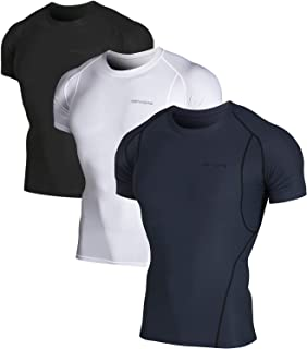 Men's 2~3 Pack Cool Dry Athletic Compression Short Sleeve Baselayer Workout T-Shirts