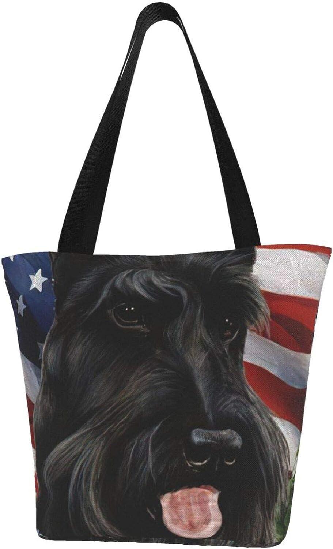 American Flag Patriot Scottish Terrier Dog Black Themed Printed Women Canvas Handbag Zipper Shoulder Bag Work Booksbag Tote Purse Leisure Hobo Bag For Shopping