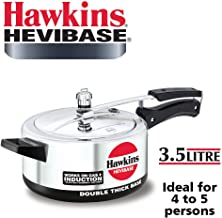 Hawkins Havibase Aluminium Induction Compatible Double Thick Base Pressure Cooker, 3.5 Litres, Silver