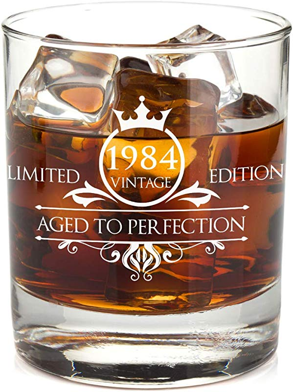 1984 35th Birthday Whiskey Glass For Men And Women Vintage Aged To Perfection Anniversary Gift Idea For Him Her Husband Or Wife Presents For Mom Dad 11 Oz Bourbon Scotch Tumbler
